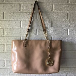 Michael Kors light tan patent leather soft tote